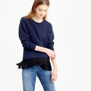 NWT J. Crew Fringe Trim Hem Blue Sweatshirt Top
